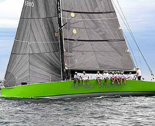 The bright green hull of Future Shock is leading the fleet in the 31st Pittwater to Coffs Harbour yacht race.