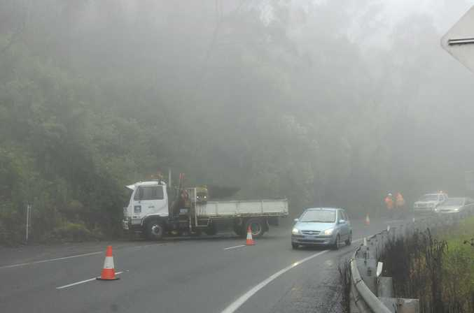 The Toowoomba Range section of the Warrego Highwas closed today after a landslide caused by heavy rain.