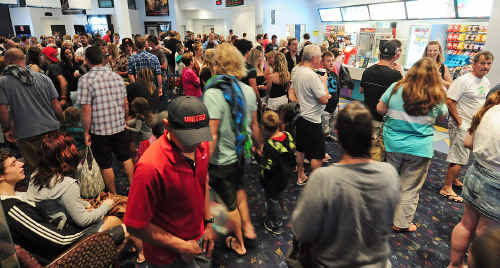 The rain forced huge crowds to escape to the movies in Coffs Harbour.