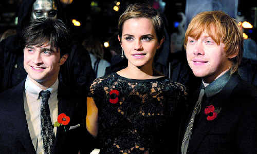 Harry Potter, played by Daniel Radcliffe, and the cast, including Emma Watson and Rupert Grint.