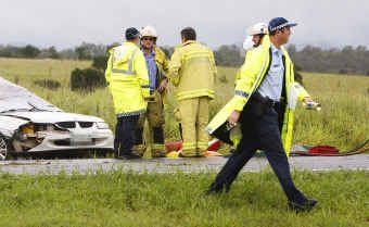 Queensland Fire and Rescue crews and emergency service workers respond to a fatal car accident near Haigslea.