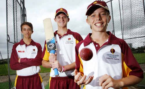 Ipswich Grammar School's (from left) Sam Beckman, Brent Potbury, Jack Wood and Carlin Anderson (absent) will represent Queensland at the National under 15 cricket championships in February-March.