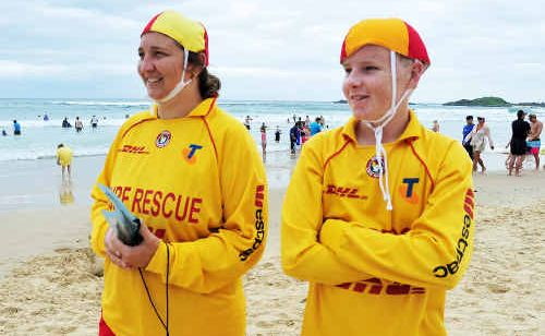 Sawtell volunteer life savers Renee Golden and Hayden Stewart.