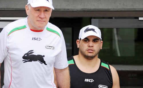 South Sydney Rabbitohs coach John Lang and new signing Greg Inglis head out to training at Redfern Oval.