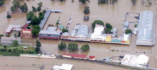 Chinchilla's iconic Chinchilla Street, once the central business area until flooding forced it to be relocated, is under water once again.