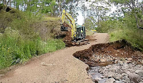 Council works on Charleys Gully Road at Freestone.