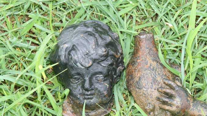 Police have released this photo of a garden statue which caused a fatal crash at Haigslea on Monday.