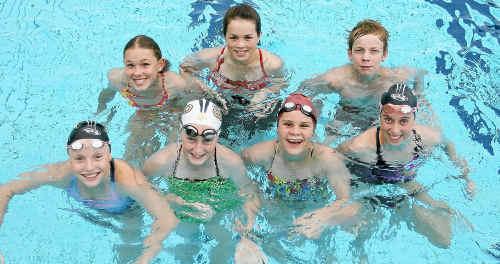 Front left, Natalie Koehler, Brae Whatmore, Karleigh Banks, Caitlyn Hiron. Back, Rylee Olsson, Monica Borg, Daniel Lynch.