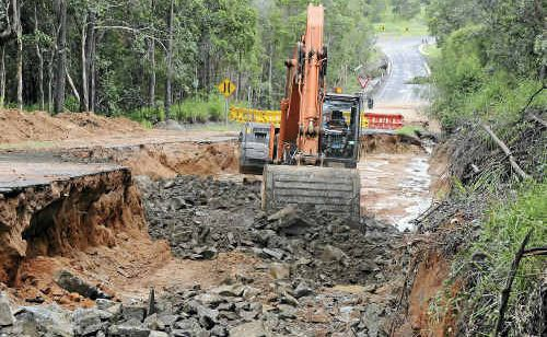 Goodwood Road being reconstructed after water damage.