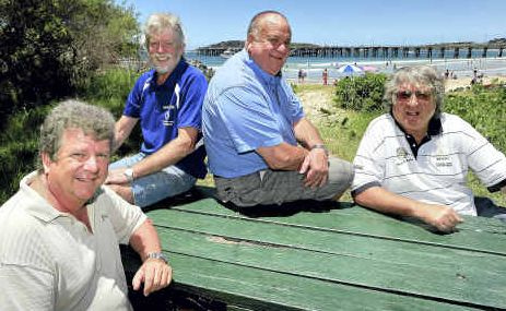 Old hands on deck: Between Garry Innes, Craig Chisholm, Ray Benson and Mark Doran, there are almost 100 sails in the Pittwater to Coffs Harbour Yacht Race.