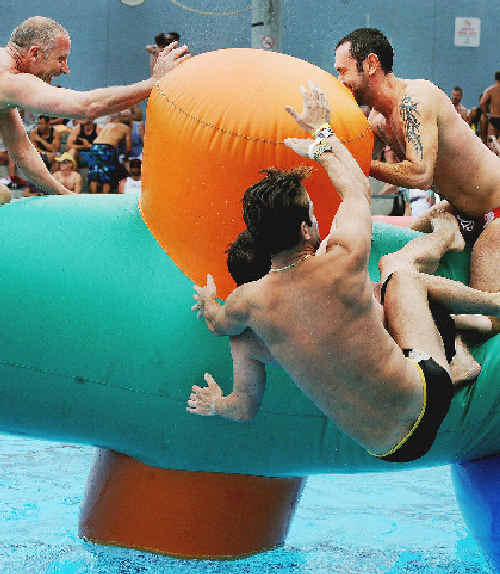 KICKING off the New Year with a splash are Tropical Fruits pool party revellers at Lismore Memorial Baths.