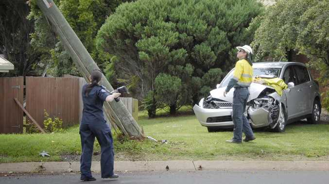 A car slammed into a powerpole in Ramsay Street this morning.