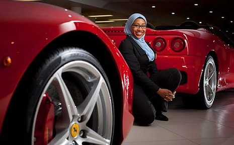 "Brisbane university student Yassmin Abdel-Magied, 19, has a passion for fast cars, especially Ferraris: ""I just became enamoured with these beautiful machines.''"