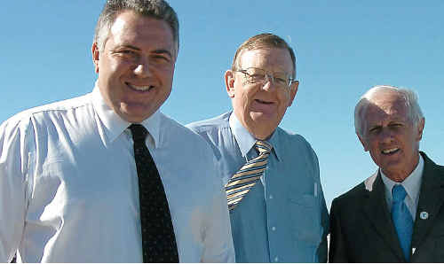 Shadow treasurer Joe Hockey, Member for Hinkler Paul Neville and Bundaberg councillor Danny Rowelson at the announcement of a $2 million project for the restoration of the Elliott River mouth.