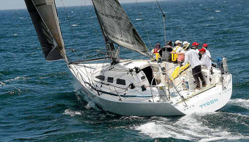 Making good time: About Time's crew in action during the 30th anniversary Pittwater to Coffs Harbour Yacht Race.