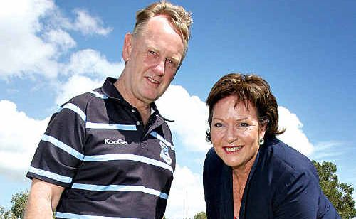 Maroochydore Rugby Union Club president Michael Guildford and Cr Debbie Blumel turn the first sod.