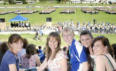 Watching the official opening ceremony of the Australian Pathfinder Camporee at the Toowoomba Showgrounds are (from left) Debbie McKay, Julie Benham, Tegan Arthur, Teagan Fitzpatrick and Bree Wilson.