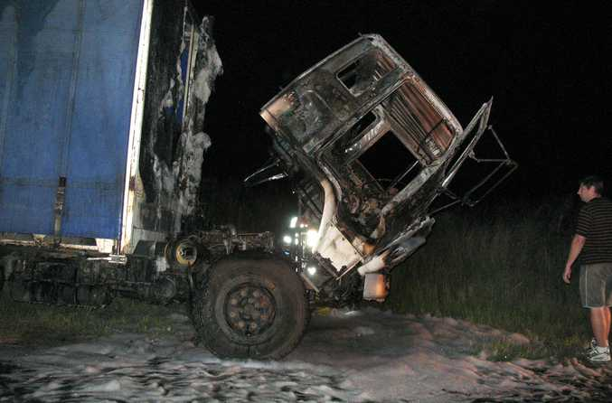 A truck was destroyed by fire on the Gatton Clifton Road last night.