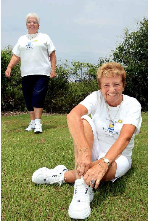 Sheila Leiper and Barbara Wakefield run the Health Point Chemist Tweed City Walkers group.