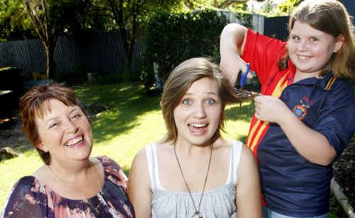 Lynn Arnold of Brassall will be shaving her head with her daughters Lucy, 19, who will also face the clippers and Molly, 11, who will colour her hair.