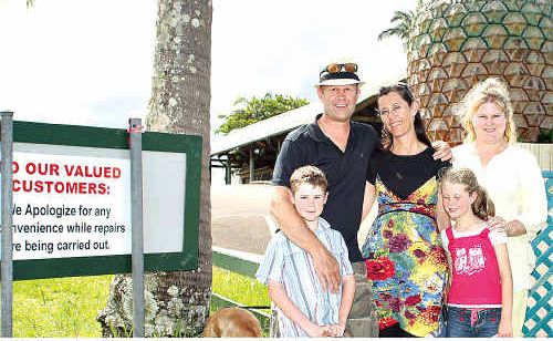 Sydneysiders Andrew Claassen, his wife Lizelle, twin children Chelsea and Kyle, and his sister Syliva Coetzee visited the Big Pineapple only to find it closed.