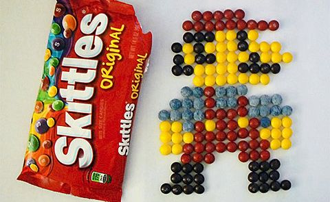What can you create out of Skittles? Mario?