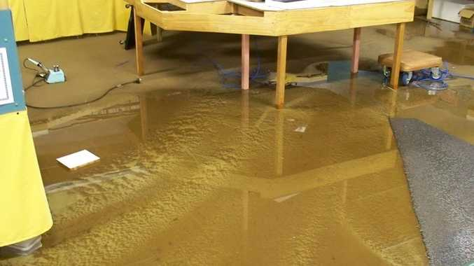 The Darling Downs Model Train Club's clubhouse was inundated during yesterday's early morning downpour.