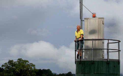 On guard: Wayne Watson checks the gauges at Bray Park weather station.