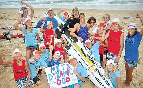 Metropolitan Caloundra SLSC nippers get behind their Dynamic Duo of Corey Jones and Rebecca Creedy  the final round of the Kellogg's Nutri-Grain Ironman Series at Noosa.