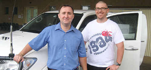Toowoomba Hospital Emergency Department nurses Matt Mackenzie (left) and Paul Finger are in Condamine assisting QAS in providing primary health care to the residents.