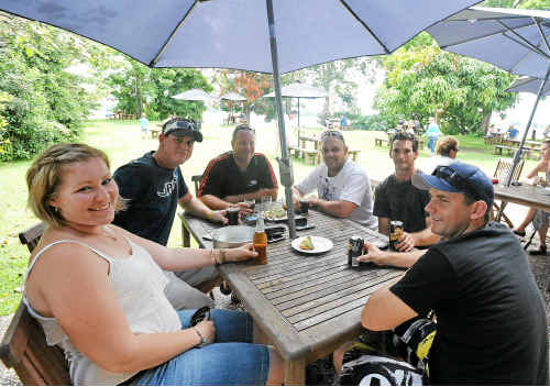Here's cheers: The Daily Telegraph named the Ulmarra Hotel in the top 10 NSW beer gardens. Pictured (from left) are Sharlene Hayes, Michael Young, Shayne Forrester, Shayne Bagwell, Andrew Martin and Grant Arnott.