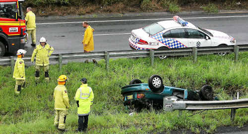 An accident on the Warrego Highway at the Mt Crosby overpass yesterday.