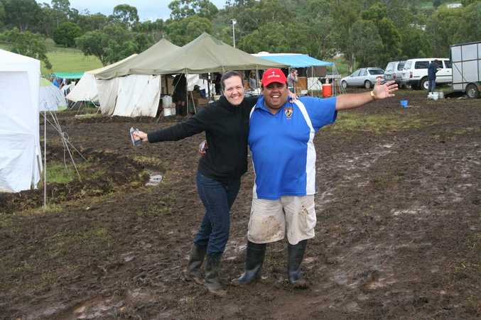 Australian Pathfinder Camporee chaplains Rebecca and Richie Reid say a fond farewell to the muddy Toowoomba Showgrounds.