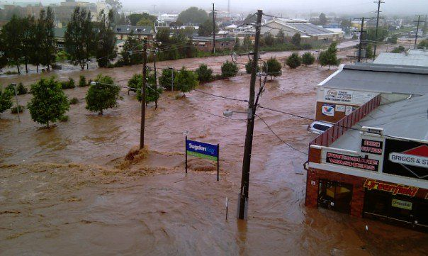 Under water: Flooding in Toowoomba.