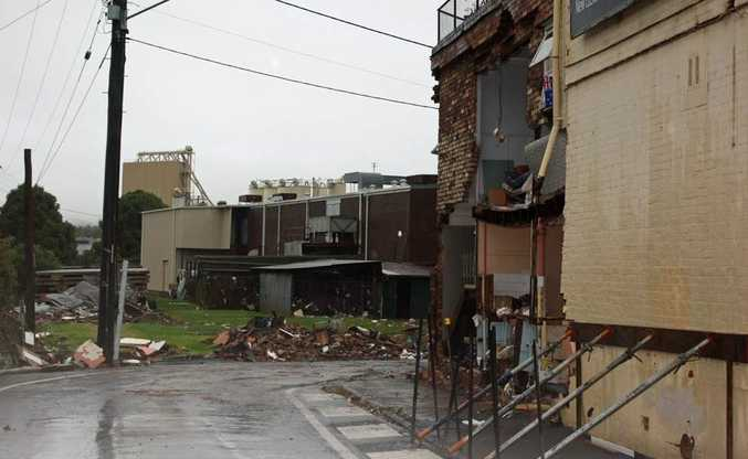 The wall of a building collapsed in Schofield Street.