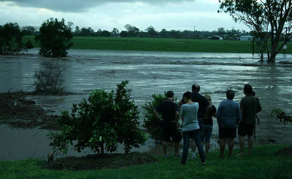 Water from Lockyer Creek floods Gatton in the Lockyer Valley.