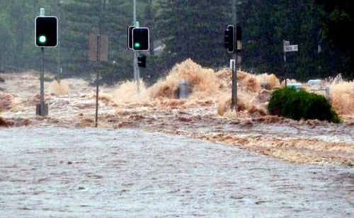 A raging torrent of water crashes through Toowoomba turning city streets into angry rivers.