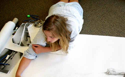 Johanna Reilly has been working on a large-scale drawing at Mackay library while holidaying in Mackay over the holiday period.
