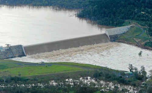 Paradise Dam holds strong despite the water spilling over it, and rumours to the contrary.