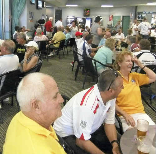 Bowlers and other supporters were out in force for the Woolgoolga Surf Life Saving Club's annual Black and White charity bowls day.
