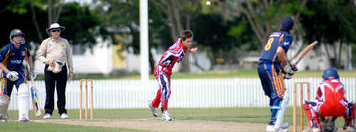 Souths batsman Sean Austin prepares to face a delivery from Norths bowler Ben Godfrey during their match at the weekend.