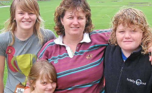 Oakey family Shannon, Rayannah, Tanya and Zhane Wassell have sought refuge at the Toowoomba Grammar School.
