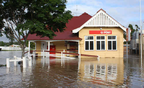 Floodwater surrounds the Chinchilla Post Office.