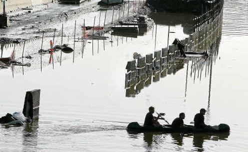 THE flooded Ipswich Motorway at Goodna yesterday.