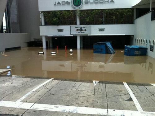 Submerged basement carpark at the Jade Buddha