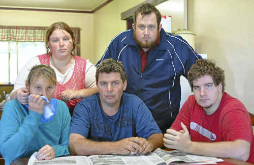 Grantham residents (from left) Michelle Keep, Natasha Long, Darren Keep, Brad Long and Brendan Keep recount the horror of their flash flood experience yesterday.