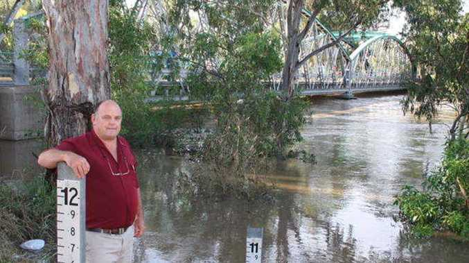 Goondiwindi Mayor Graeme Scheu inspects the Macintyre River, which is at 10.62 metres this morning and rising.