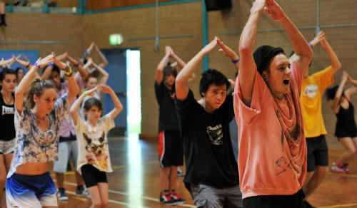 Embracing movement: Travers Ross leads a dance workshop at the Coffs Harbour Education Campus.