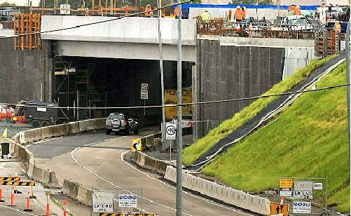 Steaming ahead: The wet weather has failed to stall Banora Point roadworks.