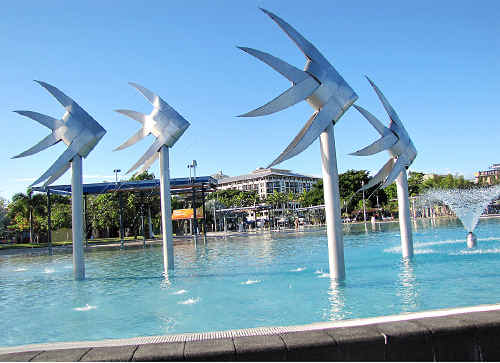 Metal sculptures on the Cairns foreshore.